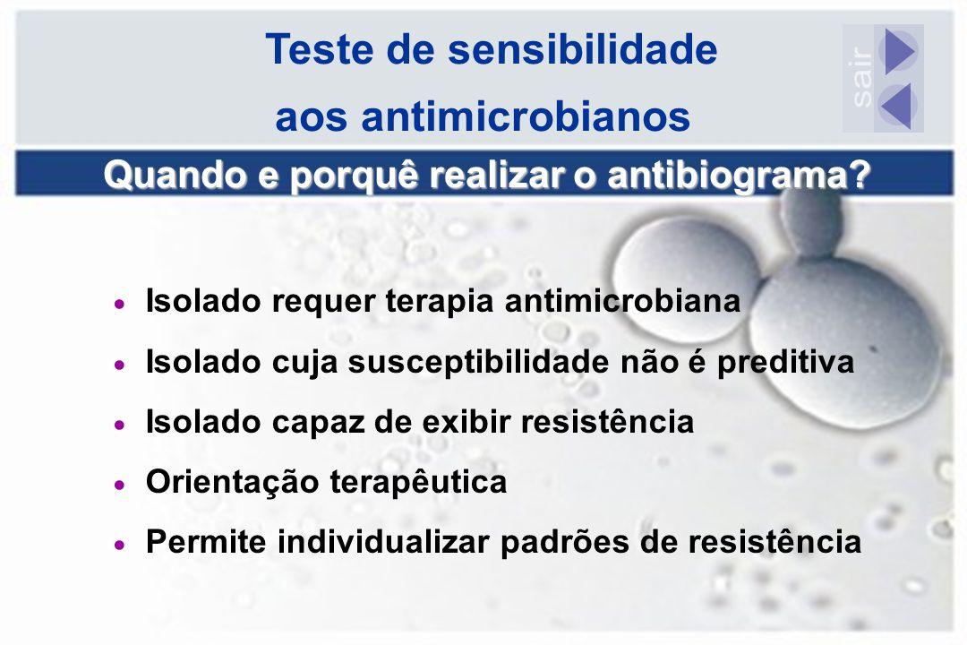  Isolado requer terapia antimicrobiana  Isolado cuja susceptibilidade não é preditiva  Isolado capaz de exibir resistência  Orientação terapêutica