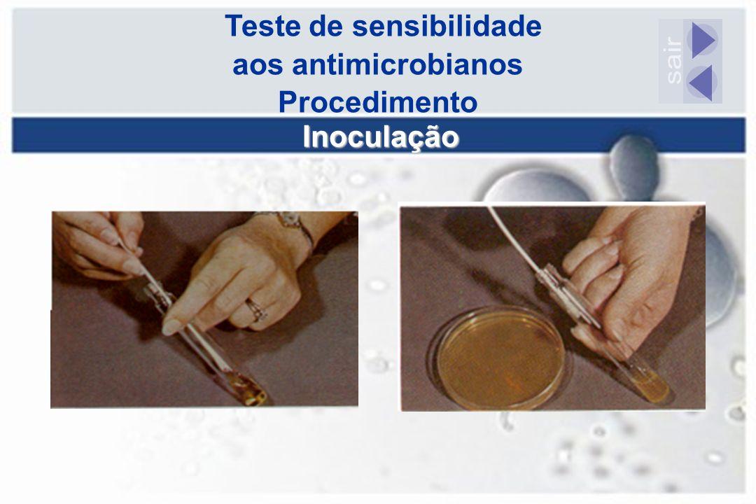 Teste de sensibilidade aos antimicrobianos Procedimento Inoculação