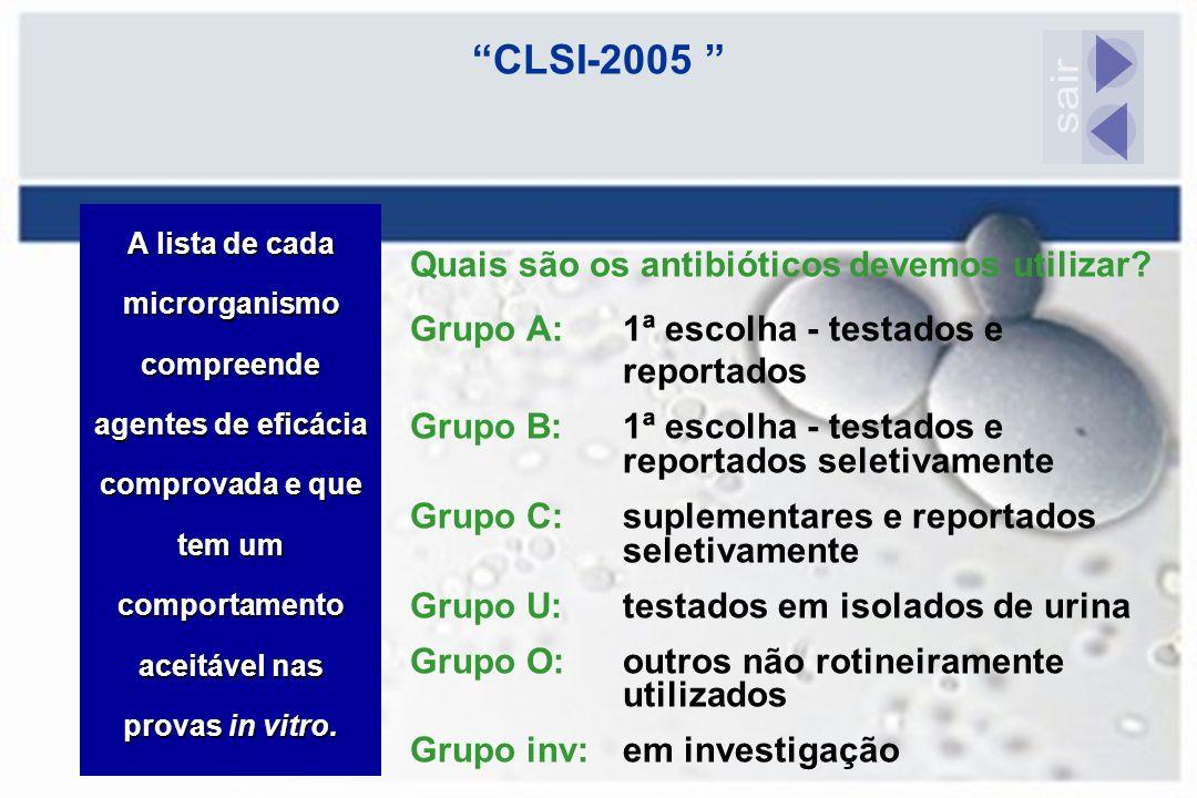 """""""CLSI-2005 """" Quais são os antibióticos devemos utilizar? Grupo A:1ª escolha - testados e reportados Grupo B:1ª escolha - testados e reportados seletiv"""