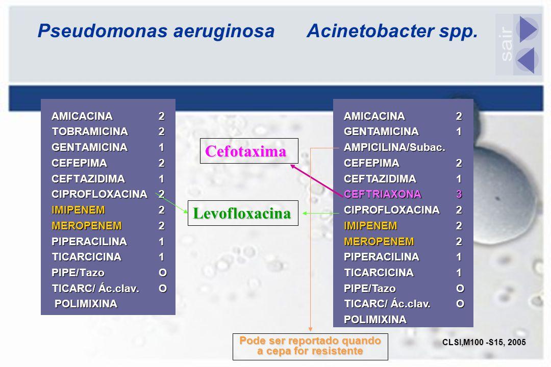 Pseudomonas aeruginosa Acinetobacter spp. AMICACINA 2 TOBRAMICINA 2 GENTAMICINA 1 CEFEPIMA2 CEFTAZIDIMA1 CIPROFLOXACINA2 IMIPENEM2 MEROPENEM 2 PIPERAC