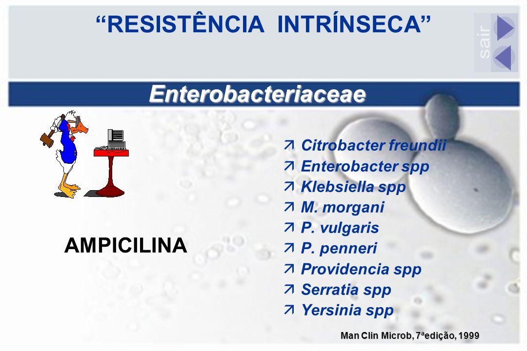 """""""RESISTÊNCIA INTRÍNSECA"""" äCitrobacter freundii äEnterobacter spp äKlebsiella spp äM. morgani äP. vulgaris äP. penneri äProvidencia spp äSerratia spp ä"""