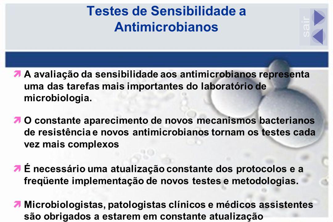 Testes de Sensibilidade a Antimicrobianos  A avaliação da sensibilidade aos antimicrobianos representa uma das tarefas mais importantes do laboratóri