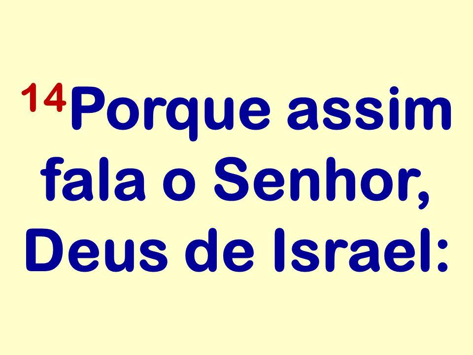 14 Porque assim fala o Senhor, Deus de Israel: