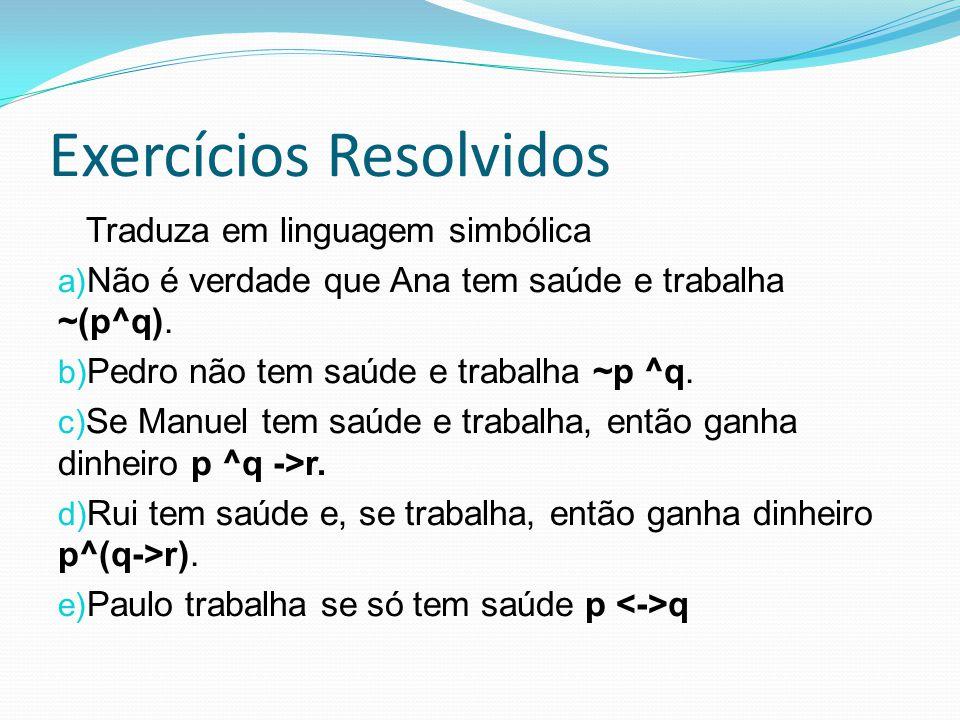 Exercícios Resolvidos Traduza em linguagem simbólica a) Não é verdade que Ana tem saúde e trabalha ~(p^q). b) Pedro não tem saúde e trabalha ~p ^q. c)