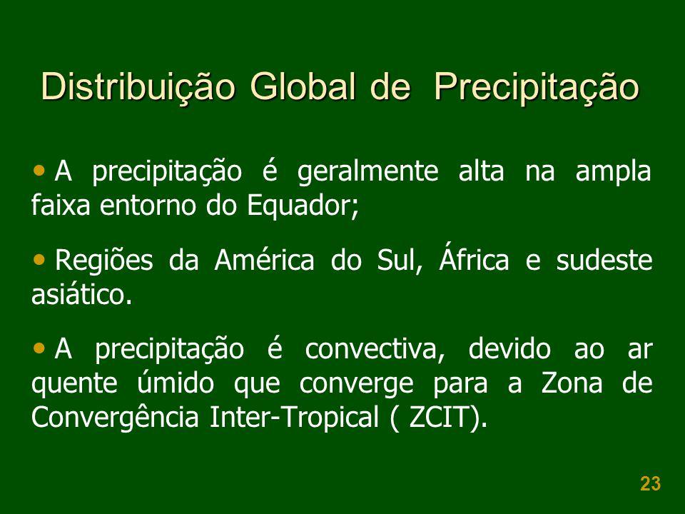 23 Distribuição Global de Precipitação A precipitação é geralmente alta na ampla faixa entorno do Equador; Regiões da América do Sul, África e sudeste