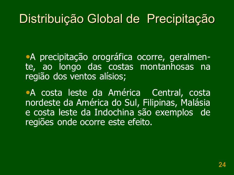 24 Distribuição Global de Precipitação A precipitação orográfica ocorre, geralmen- te, ao longo das costas montanhosas na região dos ventos alísios; A