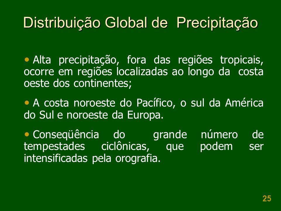 25 Distribuição Global de Precipitação Alta precipitação, fora das regiões tropicais, ocorre em regiões localizadas ao longo da costa oeste dos contin