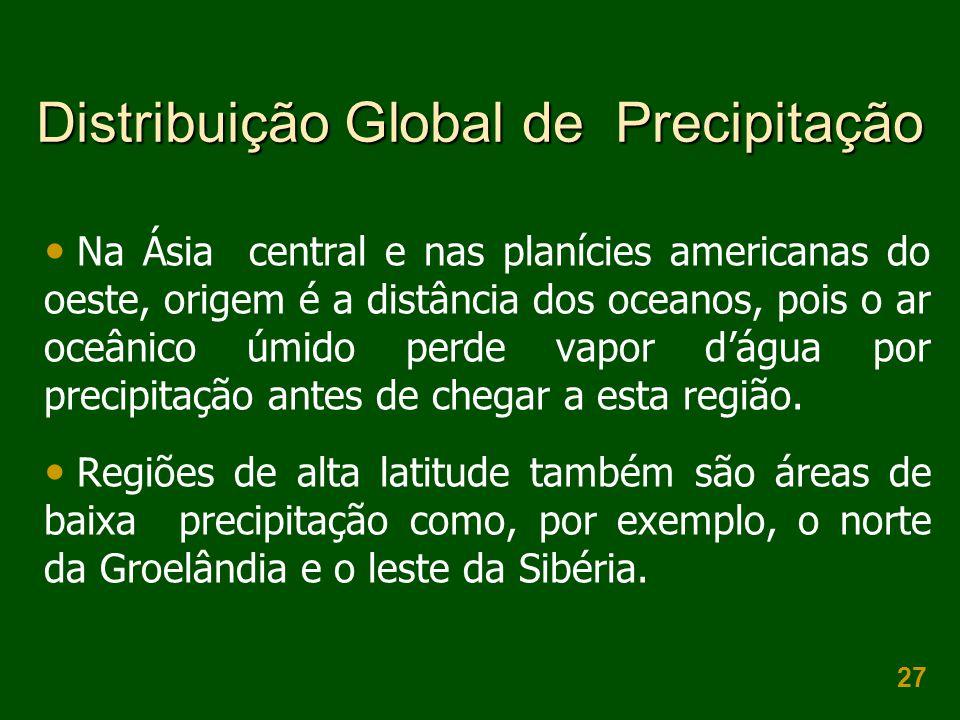 27 Distribuição Global de Precipitação Na Ásia central e nas planícies americanas do oeste, origem é a distância dos oceanos, pois o ar oceânico úmido
