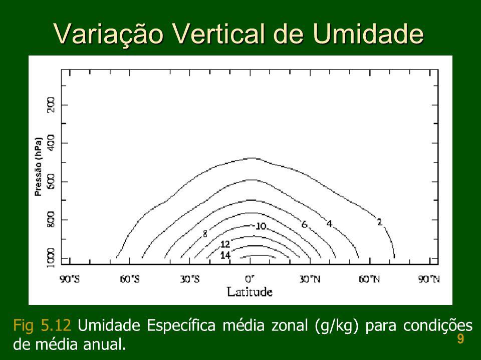 9 Variação Vertical de Umidade Fig 5.12 Umidade Específica média zonal (g/kg) para condições de média anual.