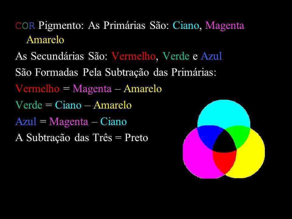 COR Luz: As Primárias São: Vermelho, Verde e Azul São Puras: Não se Formam Pela Combinação de Outras Cores COR Luz: As Secundátrias São: Ciano, Magent