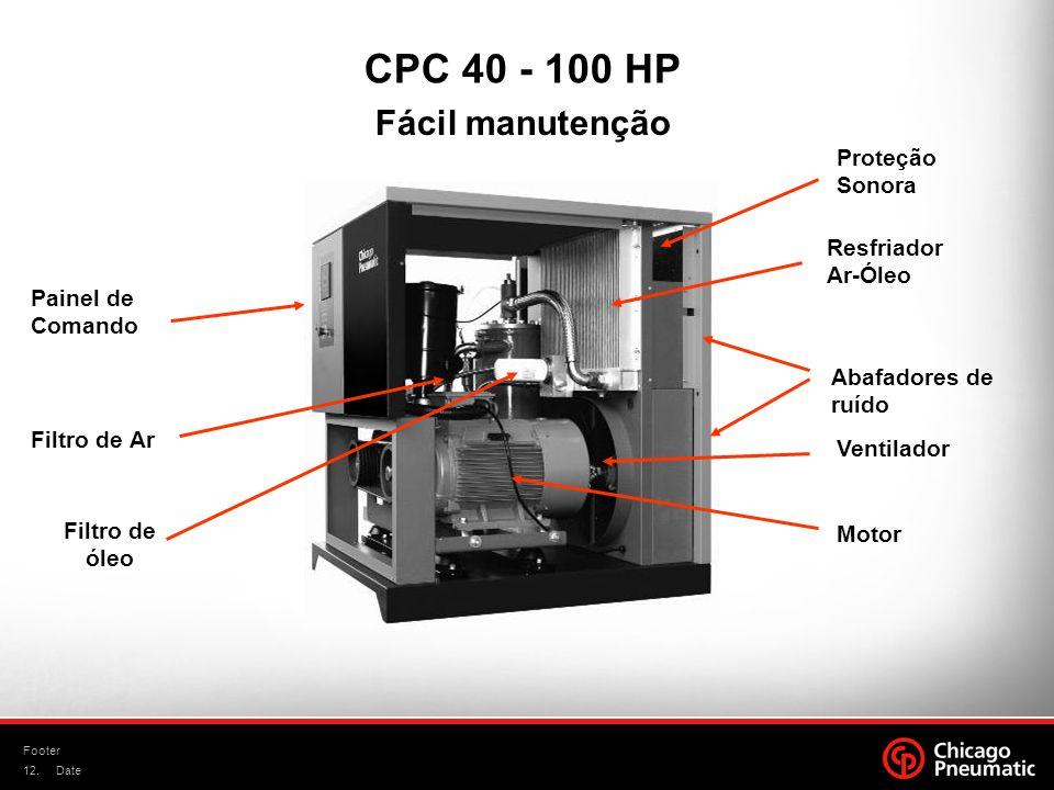 12. Footer Date Motor Ventilador CPC 40 - 100 HP Filtro de Ar Painel de Comando Abafadores de ruído Proteção Sonora Resfriador Ar-Óleo Filtro de óleo
