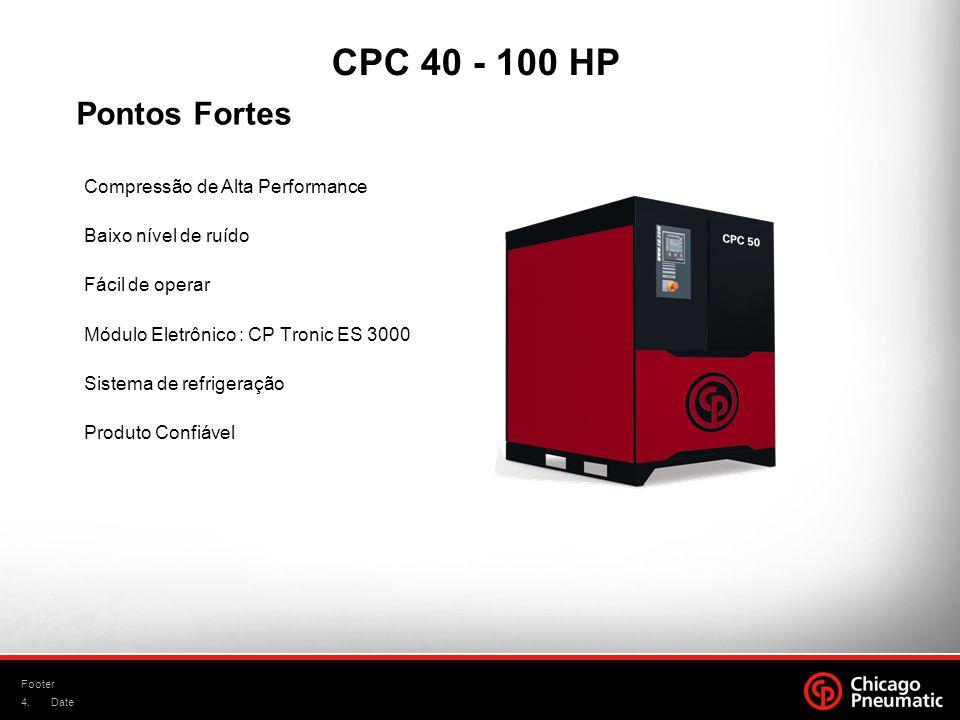 4. Footer Date Compressão de Alta Performance Baixo nível de ruído Fácil de operar Módulo Eletrônico : CP Tronic ES 3000 Sistema de refrigeração Produ