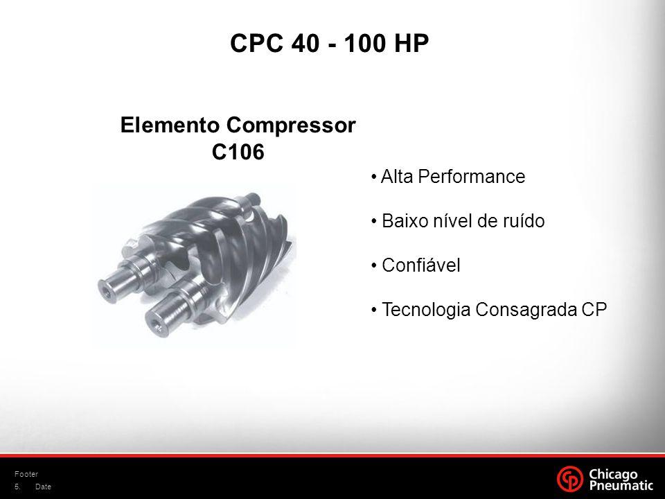 5. Footer Date Elemento Compressor C106 Alta Performance Baixo nível de ruído Confiável Tecnologia Consagrada CP CPC 40 - 100 HP