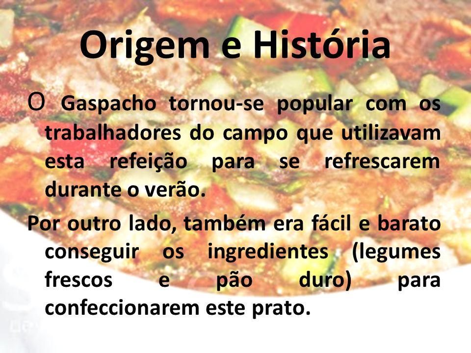 Origem e História O Gaspacho tornou-se popular com os trabalhadores do campo que utilizavam esta refeição para se refrescarem durante o verão. Por out