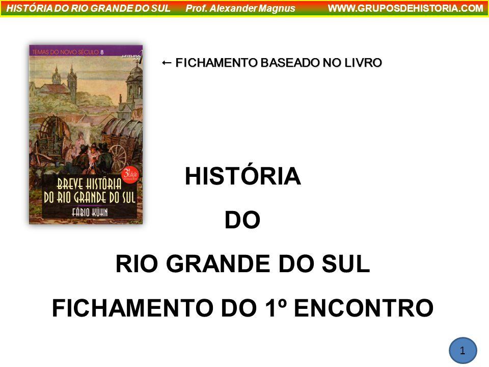 HISTÓRIA DO RIO GRANDE DO SUL FICHAMENTO DO 1º ENCONTRO HISTÓRIA DO RIO GRANDE DO SUL Prof.