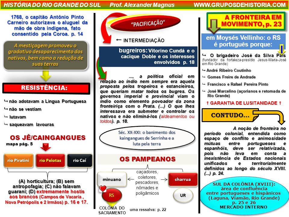 SUL DA COLÔNIA (XVIII): área de confluência entre portugueses e hispânicos (Laguna, Viamão, Rio Grande) p.