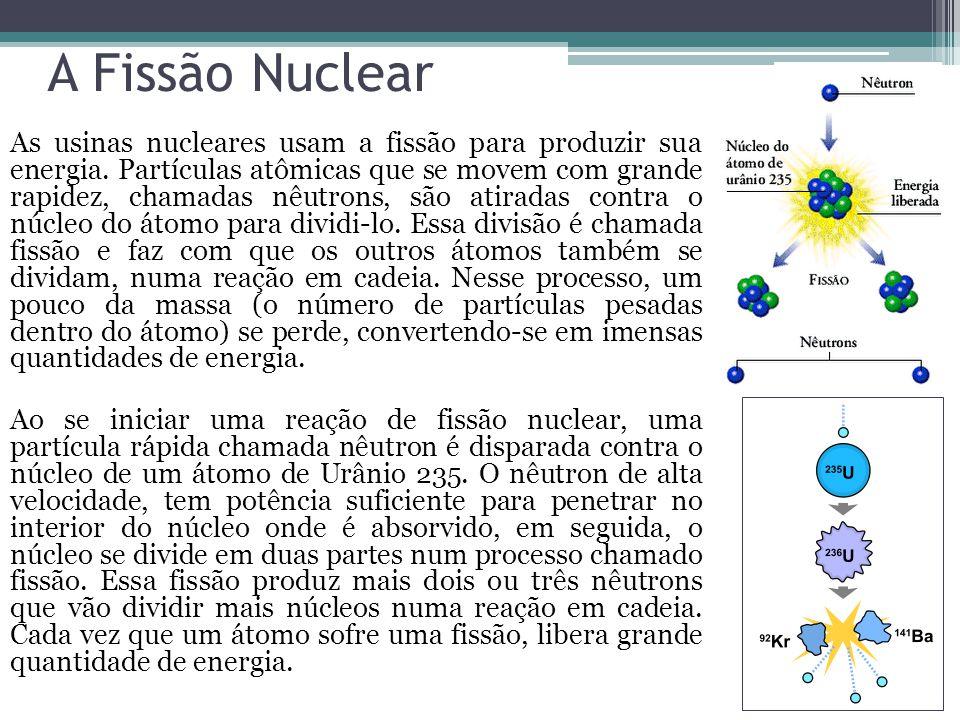 A Fissão Nuclear As usinas nucleares usam a fissão para produzir sua energia. Partículas atômicas que se movem com grande rapidez, chamadas nêutrons,