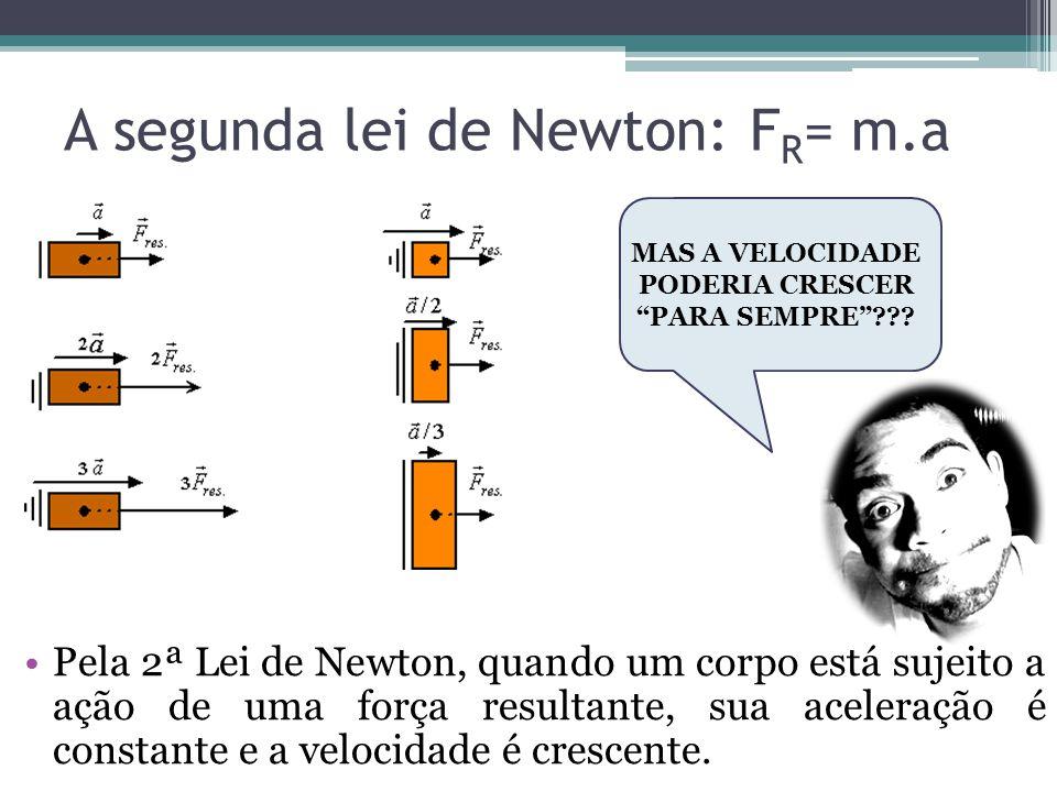 Pela 2ª Lei de Newton, quando um corpo está sujeito a ação de uma força resultante, sua aceleração é constante e a velocidade é crescente. A segunda l