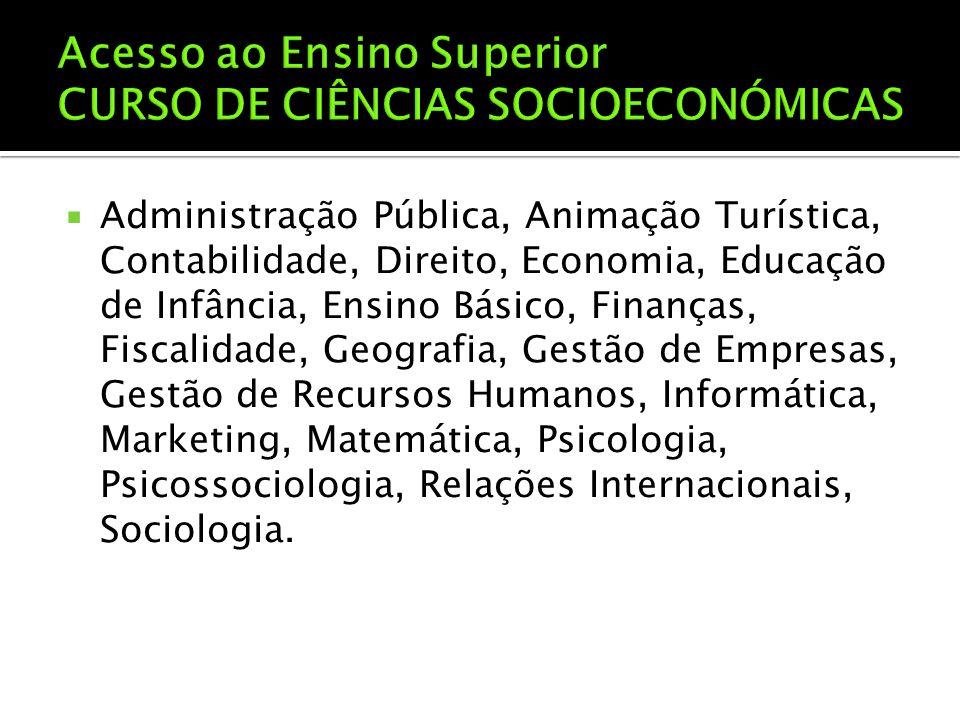  Administração Pública, Animação Turística, Contabilidade, Direito, Economia, Educação de Infância, Ensino Básico, Finanças, Fiscalidade, Geografia,