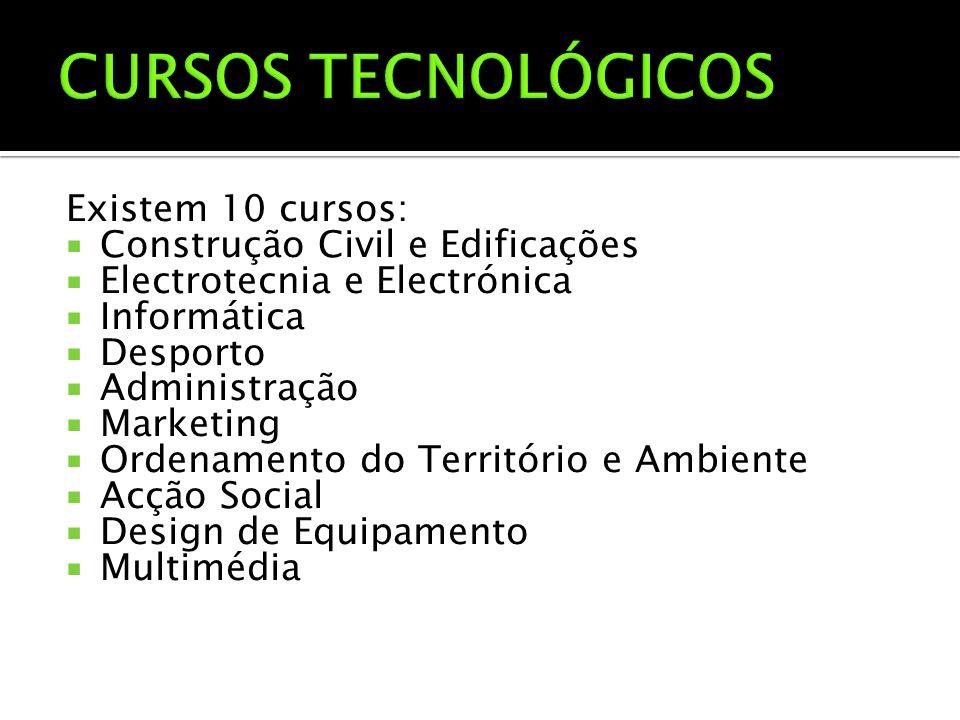 Existem 10 cursos:  Construção Civil e Edificações  Electrotecnia e Electrónica  Informática  Desporto  Administração  Marketing  Ordenamento d