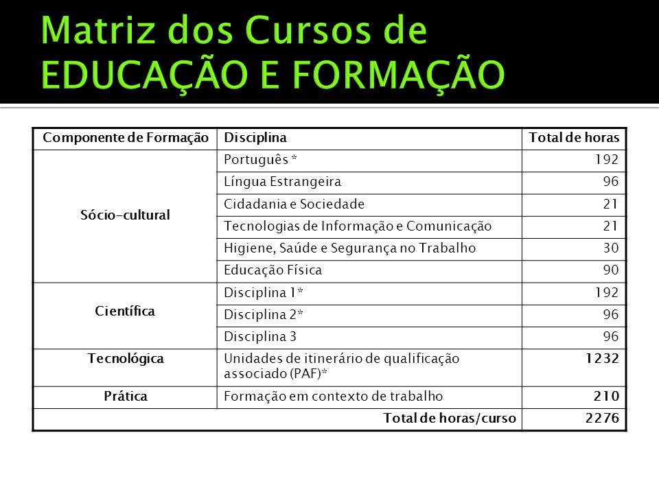 Componente de FormaçãoDisciplinaTotal de horas Sócio-cultural Português *192 Língua Estrangeira96 Cidadania e Sociedade21 Tecnologias de Informação e