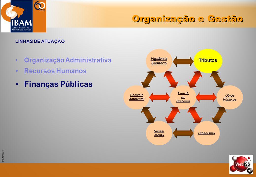 Powered by Organização e Gestão LINHAS DE ATUAÇÃO Organização Administrativa  Recursos Humanos  Finanças Públicas Controle Ambiental Vigilância Sani