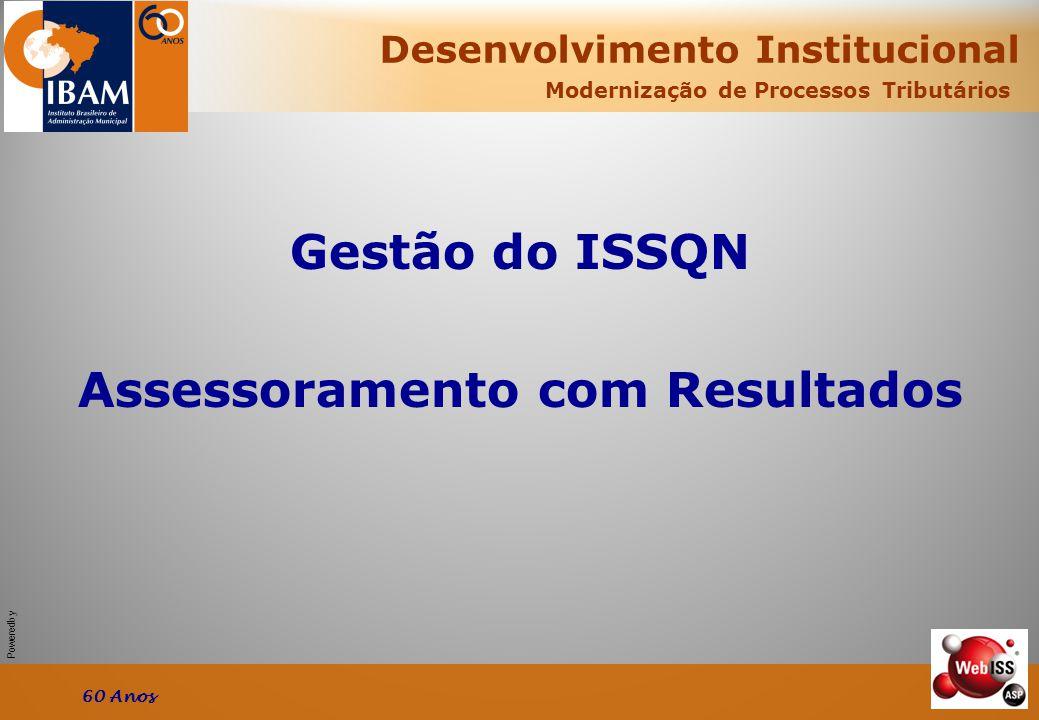 Powered by Modernização de Processos Tributários Gestão do ISSQN Assessoramento com Resultados Desenvolvimento Institucional 60 Anos