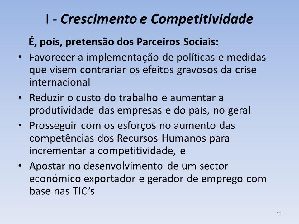 I - Crescimento e Competitividade É, pois, pretensão dos Parceiros Sociais: Favorecer a implementação de políticas e medidas que visem contrariar os e