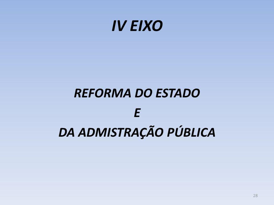 IV EIXO REFORMA DO ESTADO E DA ADMISTRAÇÃO PÚBLICA 28