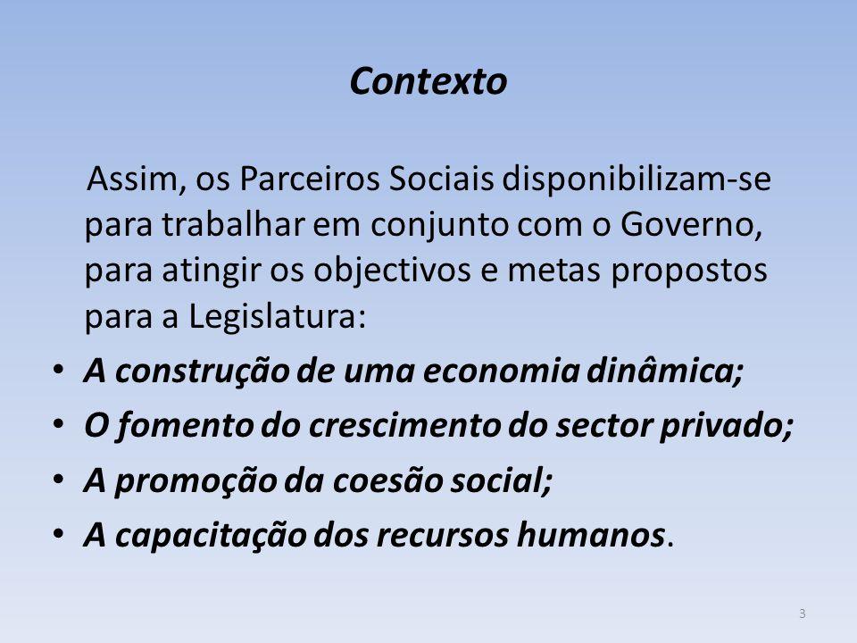 Contexto Assim, os Parceiros Sociais disponibilizam-se para trabalhar em conjunto com o Governo, para atingir os objectivos e metas propostos para a Legislatura: A construção de uma economia dinâmica; O fomento do crescimento do sector privado; A promoção da coesão social; A capacitação dos recursos humanos.