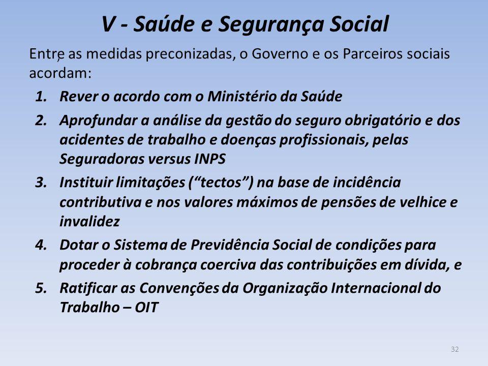 V - Saúde e Segurança Social Entre as medidas preconizadas, o Governo e os Parceiros sociais acordam: 1.Rever o acordo com o Ministério da Saúde 2.Apr