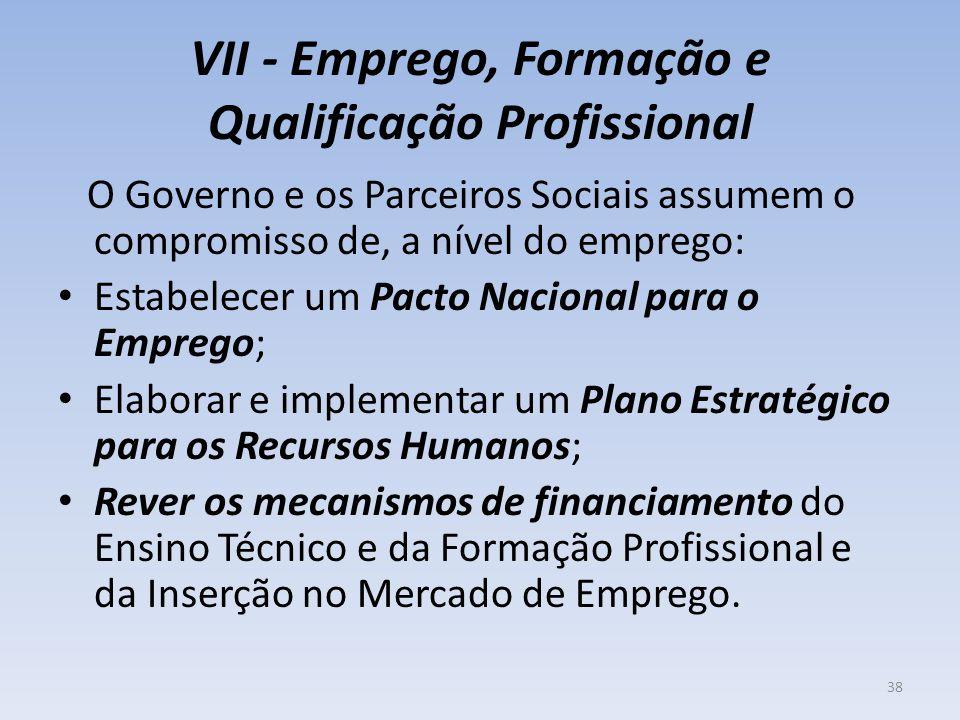 VII - Emprego, Formação e Qualificação Profissional O Governo e os Parceiros Sociais assumem o compromisso de, a nível do emprego: Estabelecer um Pact