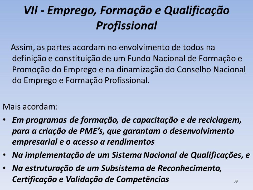 VII - Emprego, Formação e Qualificação Profissional Assim, as partes acordam no envolvimento de todos na definição e constituição de um Fundo Nacional
