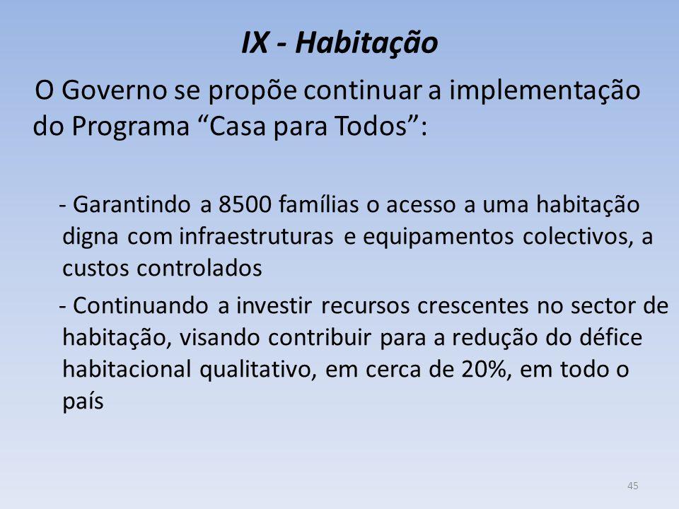 """IX - Habitação O Governo se propõe continuar a implementação do Programa """"Casa para Todos"""": - Garantindo a 8500 famílias o acesso a uma habitação dign"""