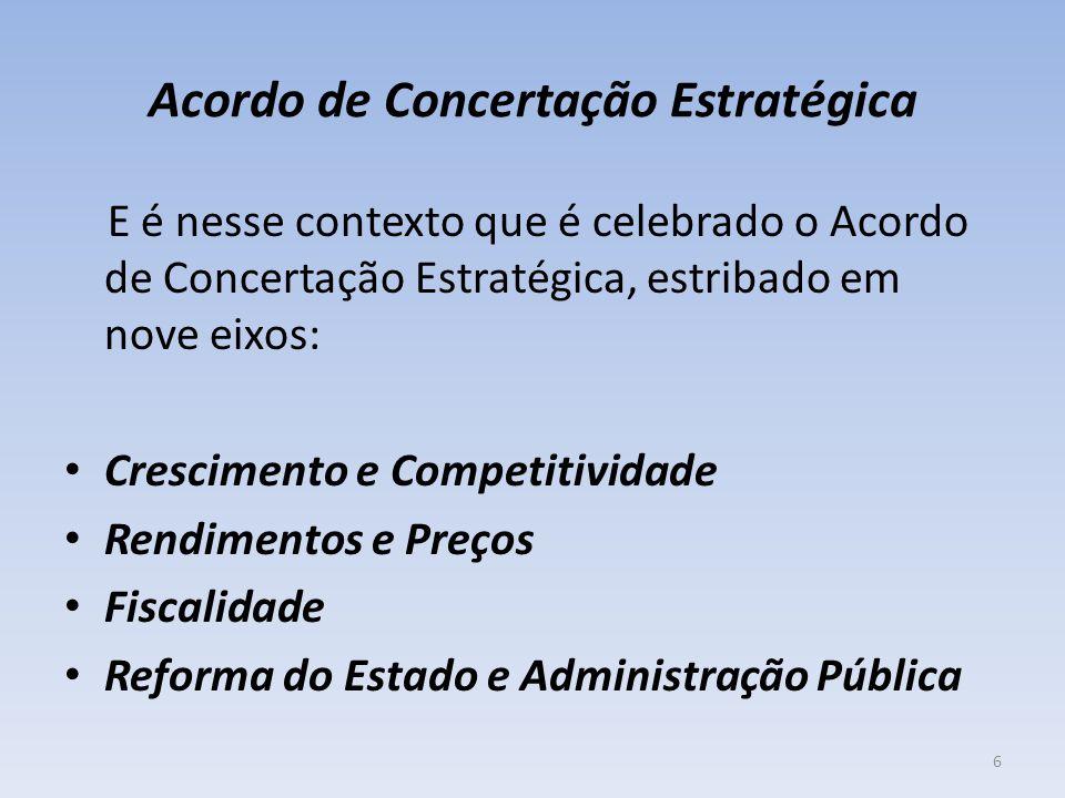 Acordo de Concertação Estratégica E é nesse contexto que é celebrado o Acordo de Concertação Estratégica, estribado em nove eixos: Crescimento e Competitividade Rendimentos e Preços Fiscalidade Reforma do Estado e Administração Pública 6