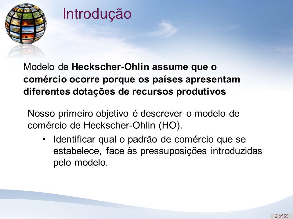 2 of 55 Modelo de Heckscher-Ohlin assume que o comércio ocorre porque os países apresentam diferentes dotações de recursos produtivos Introdução Nosso