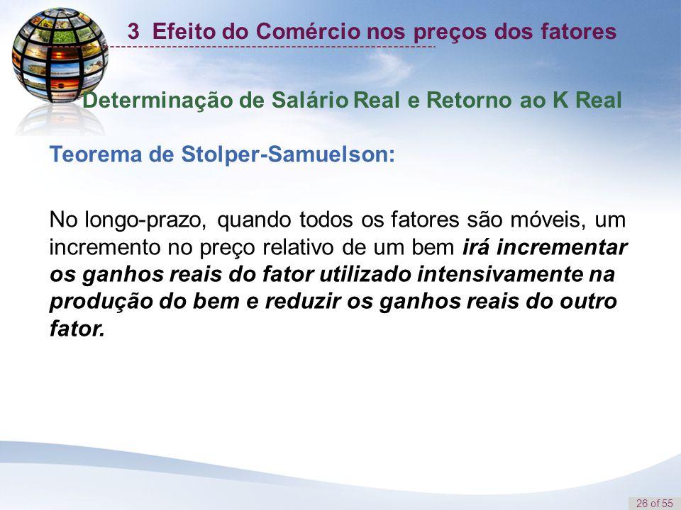 26 of 55 Determinação de Salário Real e Retorno ao K Real Teorema de Stolper-Samuelson: No longo-prazo, quando todos os fatores são móveis, um increme
