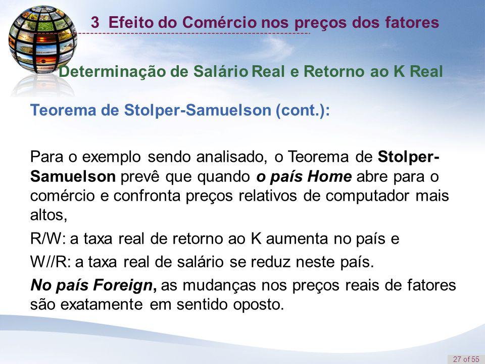 27 of 55 Determinação de Salário Real e Retorno ao K Real Teorema de Stolper-Samuelson (cont.): Para o exemplo sendo analisado, o Teorema de Stolper-