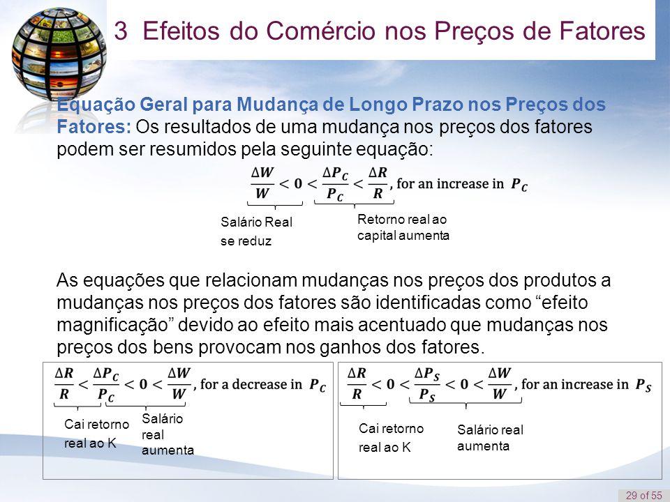 29 of 55 Equação Geral para Mudança de Longo Prazo nos Preços dos Fatores: Os resultados de uma mudança nos preços dos fatores podem ser resumidos pel