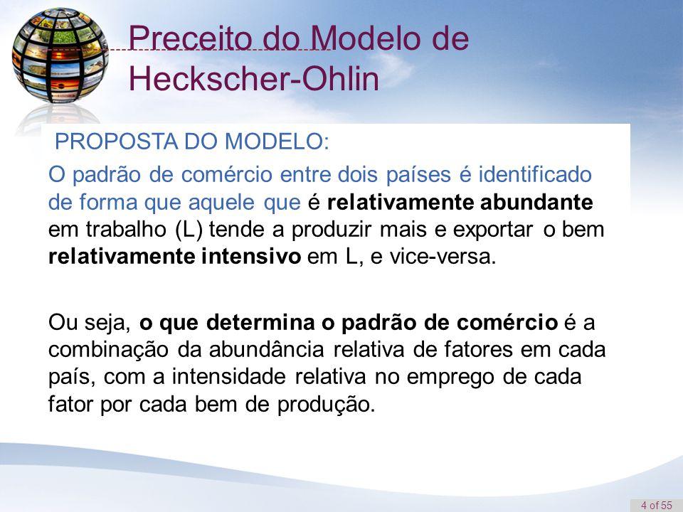 4 of 55 Preceito do Modelo de Heckscher-Ohlin PROPOSTA DO MODELO: O padrão de comércio entre dois países é identificado de forma que aquele que é rela