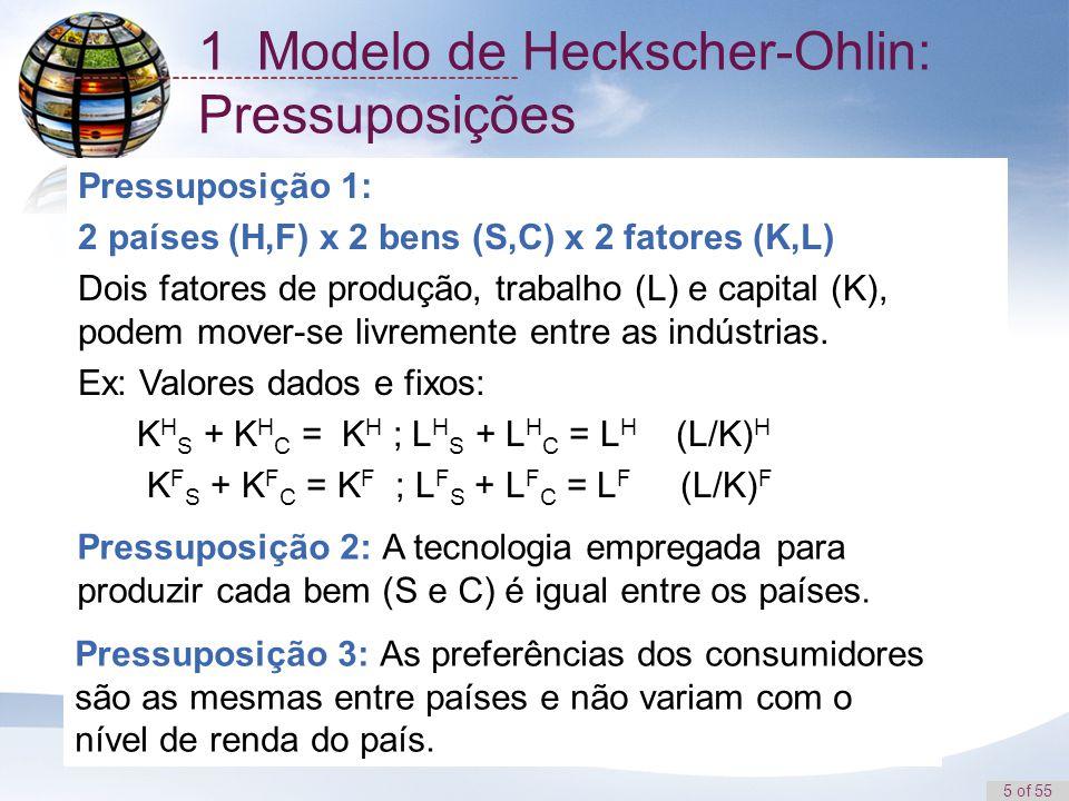 5 of 55 1 Modelo de Heckscher-Ohlin: Pressuposições Pressuposição 1: 2 países (H,F) x 2 bens (S,C) x 2 fatores (K,L) Dois fatores de produção, trabalh