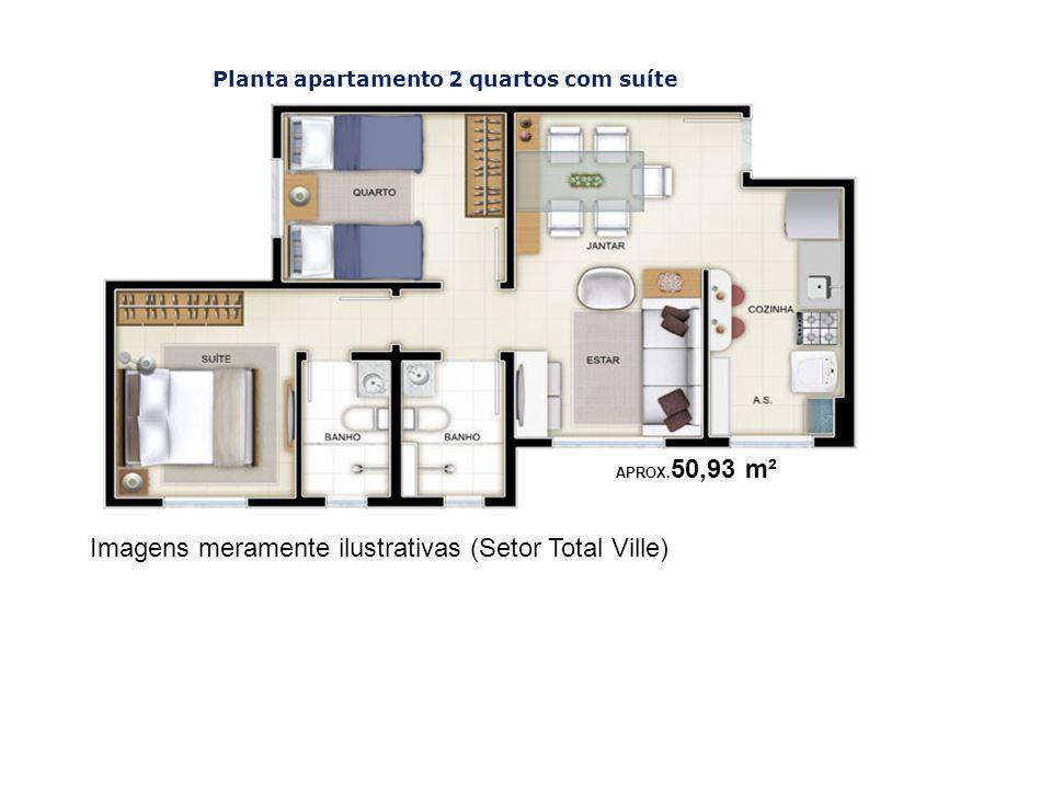 Imagens meramente ilustrativas (Setor Total Ville) Planta apartamento 2 quartos com suíte APROX. 50,93 m²