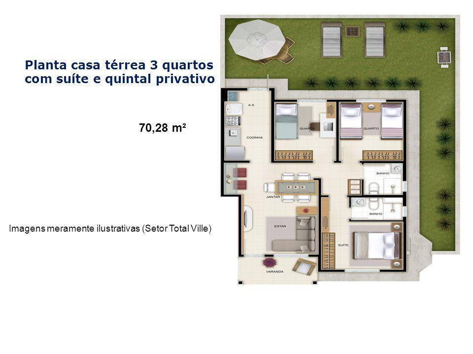 Imagens meramente ilustrativas (Setor Total Ville) Planta casa térrea 3 quartos com suíte e quintal privativo 70,28 m²