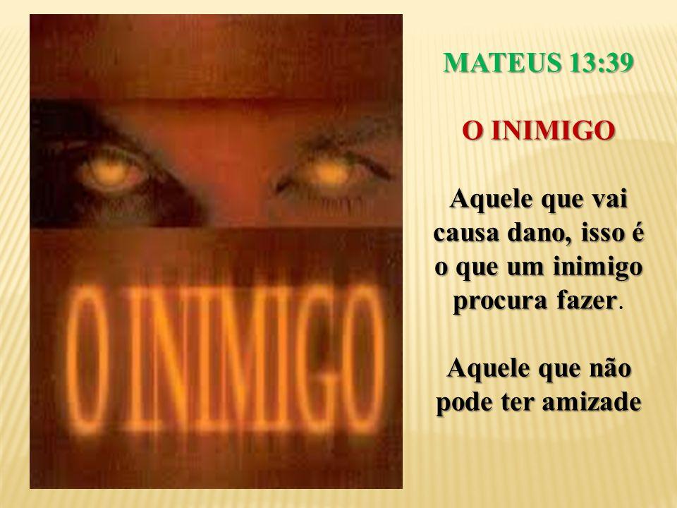 MATEUS 13:39 O INIMIGO Aquele que vai causa dano, isso é o que um inimigo procura fazer Aquele que vai causa dano, isso é o que um inimigo procura faz