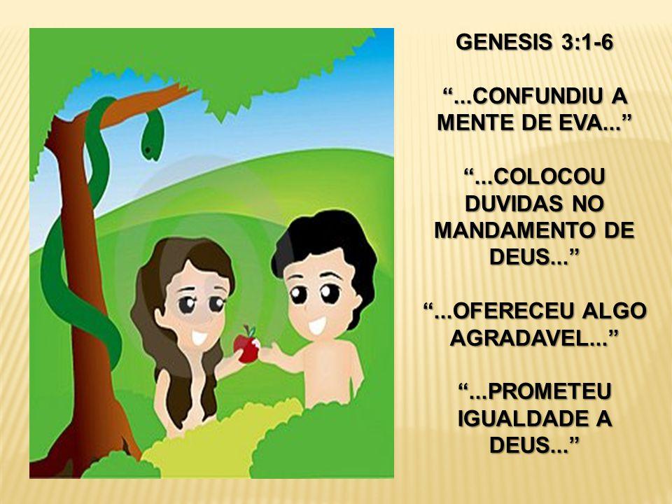 """GENESIS 3:1-6 """"...CONFUNDIU A MENTE DE EVA..."""" """"...COLOCOU DUVIDAS NO MANDAMENTO DE DEUS..."""" """"...OFERECEU ALGO AGRADAVEL..."""" """"...PROMETEU IGUALDADE A"""