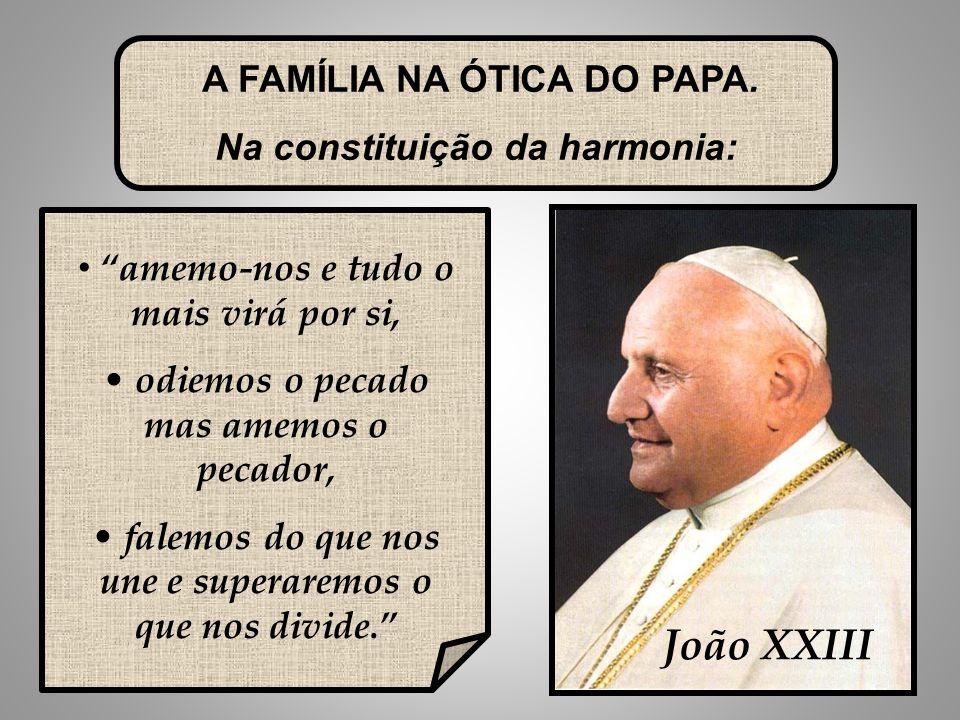 25 João XXIII amemo-nos e tudo o mais virá por si, odiemos o pecado mas amemos o pecador, falemos do que nos une e superaremos o que nos divide. A FAMÍLIA NA ÓTICA DO PAPA.