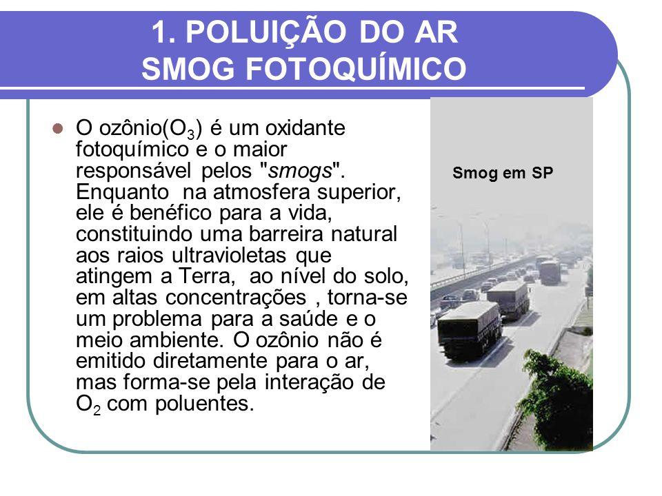 1. POLUIÇÃO DO AR SMOG FOTOQUÍMICO O ozônio(O 3 ) é um oxidante fotoquímico e o maior responsável pelos
