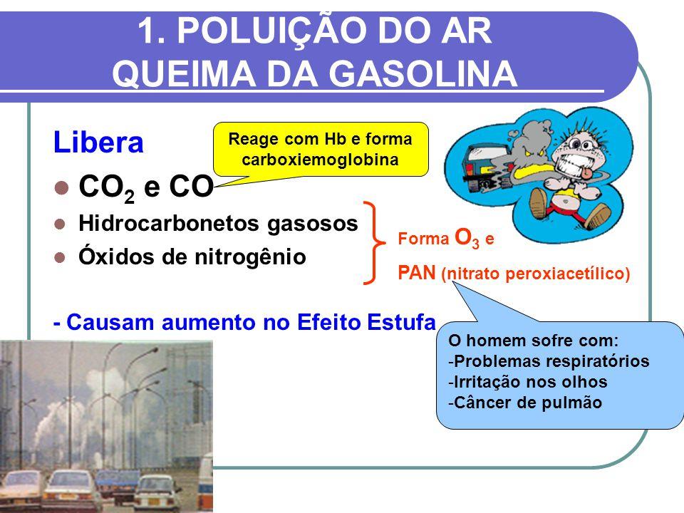1. POLUIÇÃO DO AR QUEIMA DA GASOLINA Libera CO 2 e CO Hidrocarbonetos gasosos Óxidos de nitrogênio - Causam aumento no Efeito Estufa Forma O 3 e PAN (