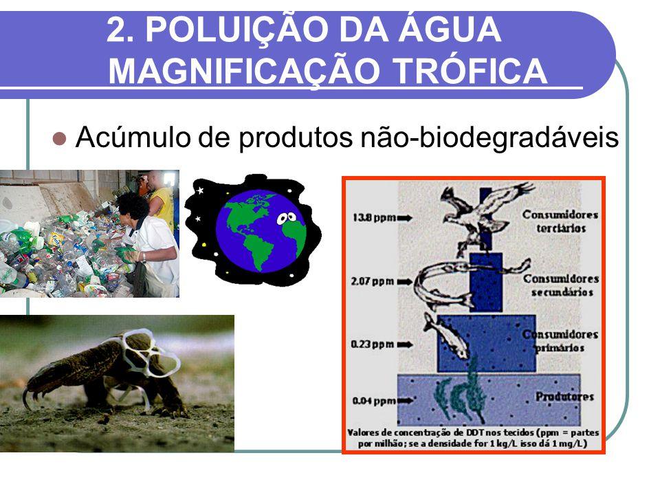 2. POLUIÇÃO DA ÁGUA MAGNIFICAÇÃO TRÓFICA Acúmulo de produtos não-biodegradáveis