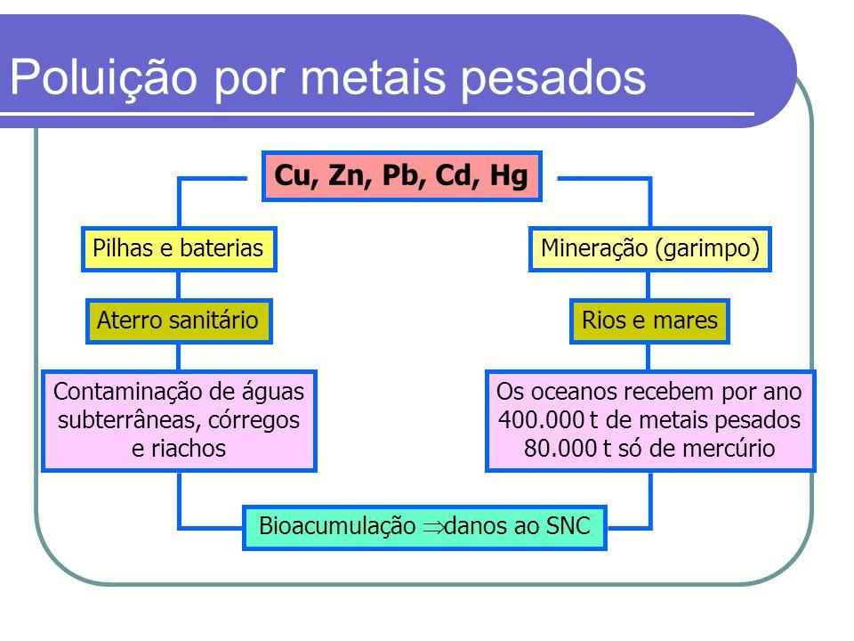 Poluição por metais pesados Cu, Zn, Pb, Cd, Hg Bioacumulação  danos ao SNC Mineração (garimpo)Pilhas e baterias Rios e maresAterro sanitário Os ocean